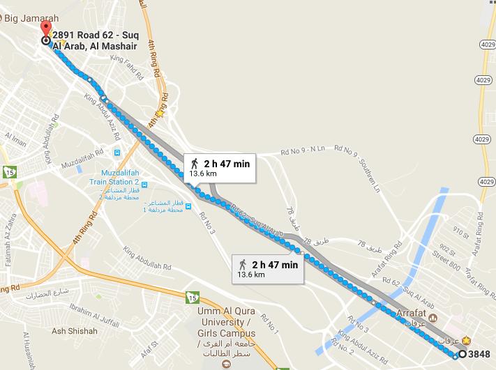 خط السير بين منى وعرفات (13 كيلومتر وحوالى ثلاث ساعات سيرا علي الأقدام)