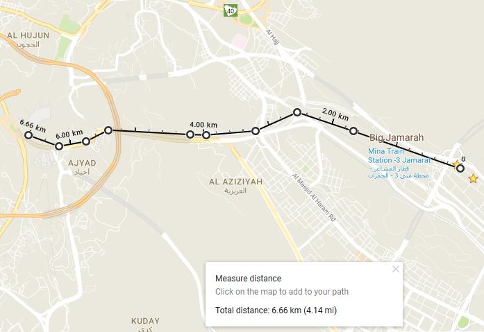 خط السير بين مكة ومنى (المسافة حوالي 7 كيلومتر – ساعة ونصف سيرا على الأقدام)